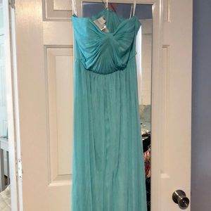 David's bridal bridesmaid dress - teal, strapless